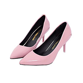Women's Leather / PU(Polyurethane) Spring / Fall Basic Pump Heels Stiletto Heel Black / Red / Pink / 3-4