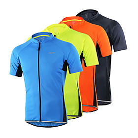 Arsuxeo Men's Short Sleeve Cycling Jersey - Light Yellow Light Blue Dark Gray Solid Color Bike Jersey Top, Breathable Quick Dry Anatomic Design 100% Polyester