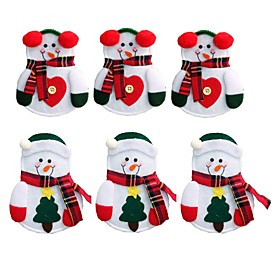 6PCS Snowman Santa Claus Elk Cutlery Suit Holders Pockets Knifes Forks Tableware Bags Christmas Dinner Table