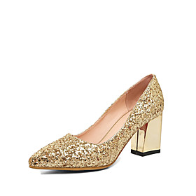 Women's Glitter Fall Comfort / Novelty Heels Chunky Heel Pointed Toe Gold / Silver / Red / Wedding / Party  Evening / Dress / 2-3 / Party  Evening