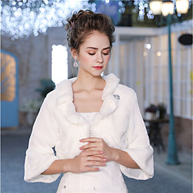 3/4 Length Sleeves Faux Fur Wedding Party / Evening Women's Wrap With Feathe..