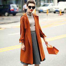 Image of Women's Wear to work Casual/Daily Simple Winter Coat,Solid Tailored Collar Long Sleeves Regular Wool