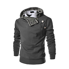 Men's Daily Sports Casual Solid Stand Plus Size Hoodie Regular,Long Sleeve Winter Spring Fall Polyester 2626950