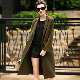 Image of Women's Wear to work Casual/Daily Simple Winter Coat,Solid Tailored Collar Long Sleeves Long Wool Pocket