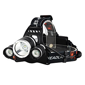 Headlamps Bike Light Headlight LED Cree XM-L T6 3 Emitters 3000 lm 4 Mode with Batteries and Chargers Waterproof Impact Resistant Rechargeable Camping / Hikin