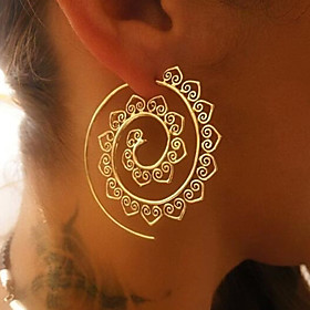 Women's Hoop Earrings - Wave Ladies Vintage Jewelry Gold / Silver For Christmas Wedding Party Gift Stage Club