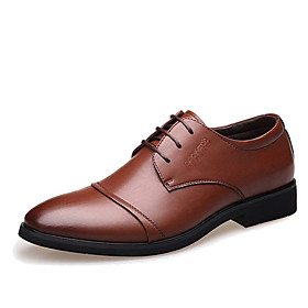 Men's Formal Shoes Microfiber Spring / Fall Business Oxfords Walking Shoes Black / Brown / Wedding / Party  Evening / Rivet / Split Joint / Party  Evening