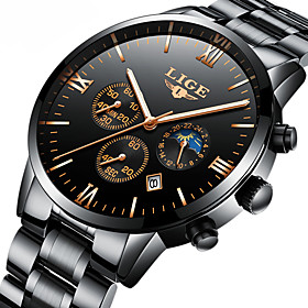 Men's Mechanical Watch Japanese Calendar / Date / Day / Chronograph / Water Resistant / Water Proof Stainless Steel Band Luxury / Elegant / Christmas Black / S