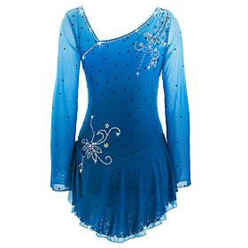 Figure Skating Dress Women's / Girls' Ice Skating Dress Azure Spandex High Elasticity Competition Skating Wear Handmade Ice Skating / Figure Skating