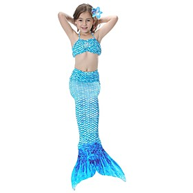 The Little Mermaid Skirt Girls' Kid's Halloween Halloween Festival / Holiday Outfits Pink / Golden / Fuchsia Mermaid