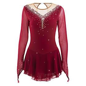 Figure Skating Dress Women's / Girls' Ice Skating Dress Burgundy High Elasticity Competition Skating Wear Handmade Jeweled / Rhinestone Long Sleeve Ice Skating