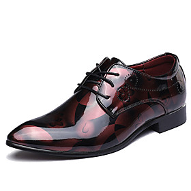 Men's Formal Shoes Microfiber Spring / Fall Oxfords Walking Shoes Black / Red / Blue / Wedding / Party  Evening / Split Joint / Party  Evening / Printed Oxford