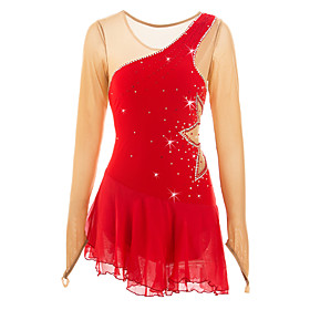 Figure Skating Dress Women's / Girls' Ice Skating Dress Red High Elasticity Outdoor clothing / Competition Skating Wear Classic Long Sleeve Ice Skating / Figur