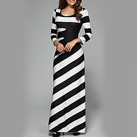 Women's Holiday Street chic Slim Sheath Dress - Striped High Waist Maxi Black  White 6432648