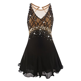 Figure Skating Dress Women's / Girls' Ice Skating Dress Black Open Back Spandex, Lace High Elasticity Competition Skating Wear Handmade Jeweled / Rhinestone Sl