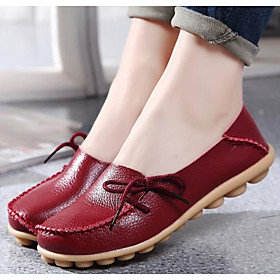 Women's Nappa Leather Spring / Fall Comfort / Ballerina Loafers  Slip-Ons Flat Heel Round Toe Blue / Pink / Wine / EU39