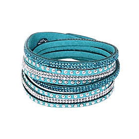 Women's Plaited Wrap Wrap Bracelet Leather Bracelet Leather Rhinestone Friends Button Ladies Basic European Bohemia Fashion Bracelet Jewelry Green / Blue / Pin