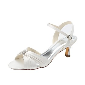 Women's Shoes Stretch Satin Summer Basic Pump Wedding Shoes Low Heel Open Toe Crystal Ivory / Party  Evening