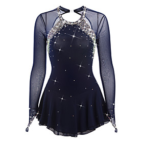 Figure Skating Dress Women's / Girls' Ice Skating Dress Dark Blue Open Back Spandex High Elasticity Competition Skating Wear Handmade Jeweled / Rhinestone Long