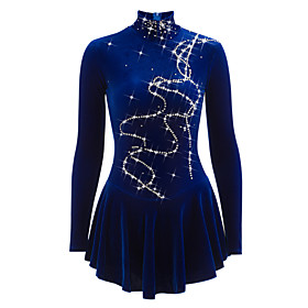 Figure Skating Dress Women's Girls' Ice Skating Dress Blue Velvet Training Competition Skating Wear Breathable Handmade Solid Colored Novelty Classic Sleeveles