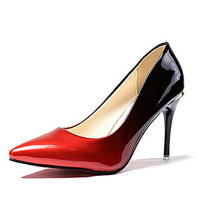 Women's PU(Polyurethane) Spring / Fall Comfort Heels High Heel Pointed Toe Gray / Red / Color Block