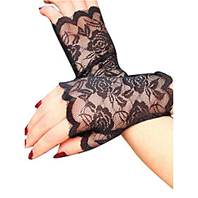 Women's Party Lace Wrist Length Fingerless Gloves 6528825