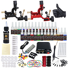 DRAGONHAWK Tattoo Machine Starter Kit - 2 pcs Tattoo Machines with 1 x 30 ml / 28 x 5 ml tattoo inks, Professional Level, All in One, Easy to Install Alloy Min
