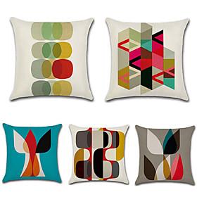 5 pcs Cotton / Linen Pillow Cover, Geometric / Bohemian Style / Retro