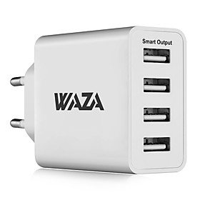 WAZA 25W Wall Charger 4-Port Output Travel Charger 2.4A Max Smart Output Each Port For iPhone, Galaxy, LG, Piexl, Moto etc.