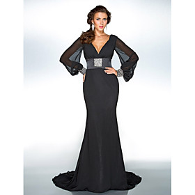 Mermaid / Trumpet V-neck Sweep / Brush Train Chiffon Formal Evening Military Ball Dress with Beading Side Draping by TS Couture plus size,  plus size fashion plus size appare
