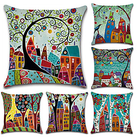 6 pcs Cotton / Linen Pillow Cover, Botanical / Bohemian Style / Retro