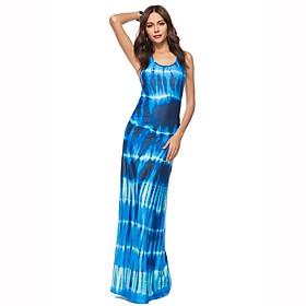 Women's Beach Boho Sheath Dress - Print / Color Block Blue, Racerback Maxi U Neck 6527043