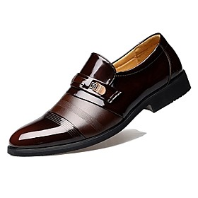 Comfort Shoes Patent Leather Spring / Fall Business Loafers  Slip-Ons Black / Brown / Party  Evening