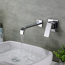 Bathroom Sink Faucet Waterfall Chrome Wall Mounted Single Handle Two HolesBath Taps