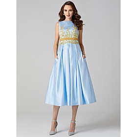 Ball Gown Bateau Neck Tea Length Satin Homecoming Company Party Family Gathering Dress with Beading Appliques Sash / Ribbon by TS Couture plus size,  plus size fashion plus size appare
