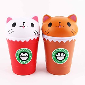 LT.Squishies Squeeze Toy / Sensory Toy Stress Relievers Toy Cat Coffee Cup Relieves ADD, ADHD, Anxiety, Autism Office Desk Toys Stress 6517527