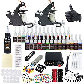 DRAGONHAWK Tattoo Machine Starter Kit - 2 pcs Tattoo Machines with 1 x 30 ml / 28 x 5 ml tattoo inks, Professional, Safety, Easy to Install Alloy Mini power su