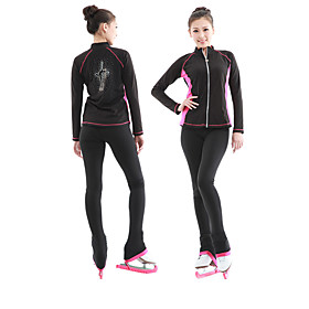 Figure Skating Jacket with Pants Women's Ice Skating Tracksuit Black / Blue / Black / Pink Velvet Competition Skating Wear Thermal / Warm Long Sleeve Skating