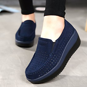 Women's Cowhide Summer / Fall Comfort Loafers  Slip-Ons Wedge Heel Round Toe Dark Blue / Gray / Red / EU40