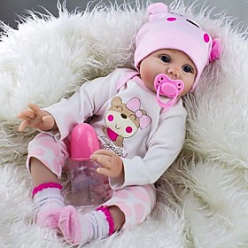 NPK DOLL Reborn Doll Baby Girl 22 inch Silicone / Vinyl - lifelike, Hand Applied Eyelashes, Artificial Implantation Blue Eyes Kid's Unisex Gift / Tipped and Se 6449638
