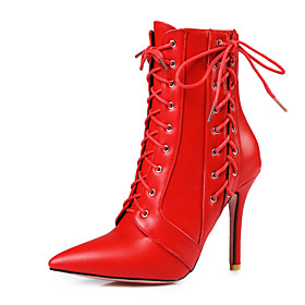 Women's Shoes Leatherette Spring / Fall Ankle Strap / Fashion Boots Boots Stiletto Heel Pointed Toe Booties / Ankle Boots White / Black / Red / Party  Evening