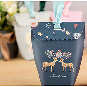 Card Paper Favor Holder with Ribbons Favor Boxes - 1pc