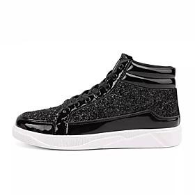 Men's PU(Polyurethane) Spring / Fall Comfort Loafers  Slip-Ons Walking Shoes Gold / Black / Silver / Rhinestone