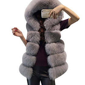 Women's Daily / Weekend Basic Winter Regular Vest, Solid Colored Hooded Sleeveless Faux Fur Black / Dark Gray / Light gray One-Size / Loose