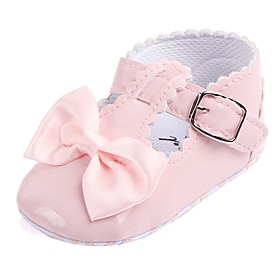 Girls' Shoes Leatherette Spring Comfort / First Walkers / Crib Shoes Flats Bowknot / Magic Tape for Red / Pink / Royal Blue