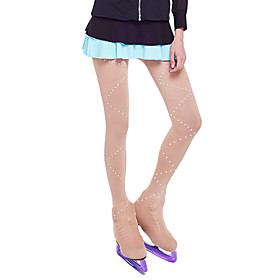 Over The Boot Figure Skating Tights Women's Girls' Ice Skating Leggings Khaki Spandex Stretchy Competition Skating Wear Solid Colored Sequin Figure Skating