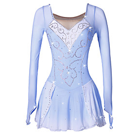 Figure Skating Dress Women's / Girls' Ice Skating Dress Blue / White Spandex High Elasticity Competition Skating Wear Handmade Classic / Fashion Ice Skating /