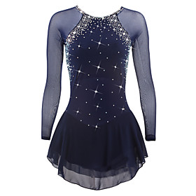 Figure Skating Dress Women's Girls' Ice Skating Dress Dark Blue Spandex High Elasticity Competition Skating Wear Quick Dry Anatomic Design Handmade Classic Lon