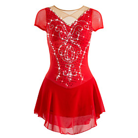 Figure Skating Dress Women's / Girls' Ice Skating Dress Red High Elasticity Training / Leisure Sports / Competition Skating Wear Breathable, Anatomic Design, H
