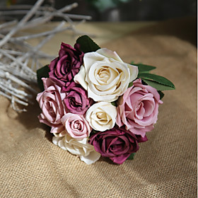 Image of Artificial Flowers 9 Branch Rustic / Wedding Flowers Roses Tabletop Flower